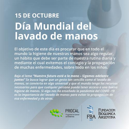 15 de octubre: Dia Mundial del lavado de manos